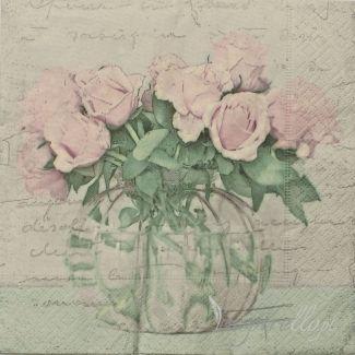 Салфетка - нежный, пастельный букет роз