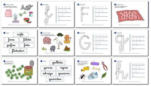 Actividades de lectoescritura para niños de 5 años y primer grado f, g, h, i, j.