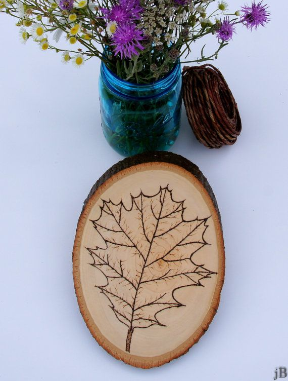 Oak leaf pyrography on natural wood plaque | Natural wood ...