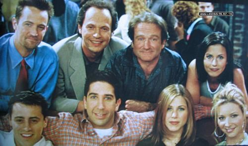 The cast of Friends with Billy Crystal and Robin Williams
