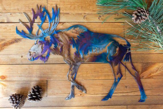 Moose Metal Wall Decor Moose Wall Art For Living Room Etsy Moose Wall Art Metal Wall Decor Exterior Wall Art