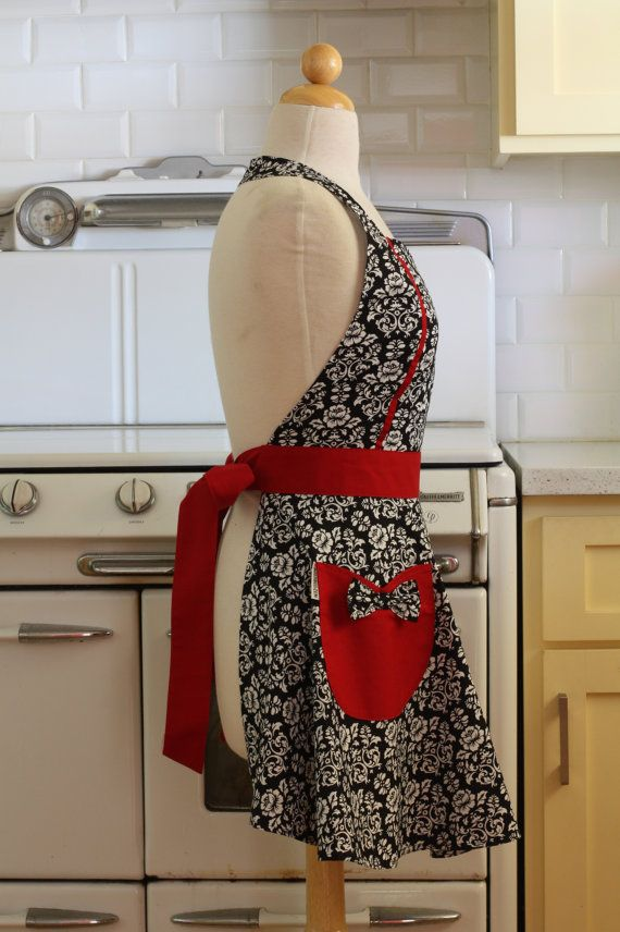 Retro Apron Black and White Floral Damask with Red by Boojiboo
