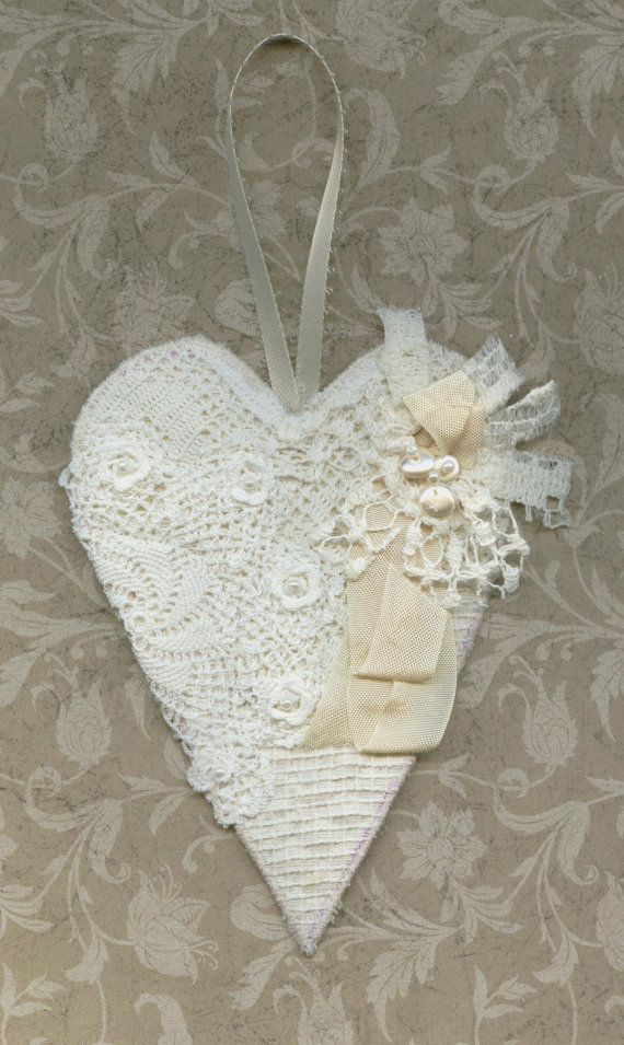 Christmas ornament or door hanger lace heart in off white and beige