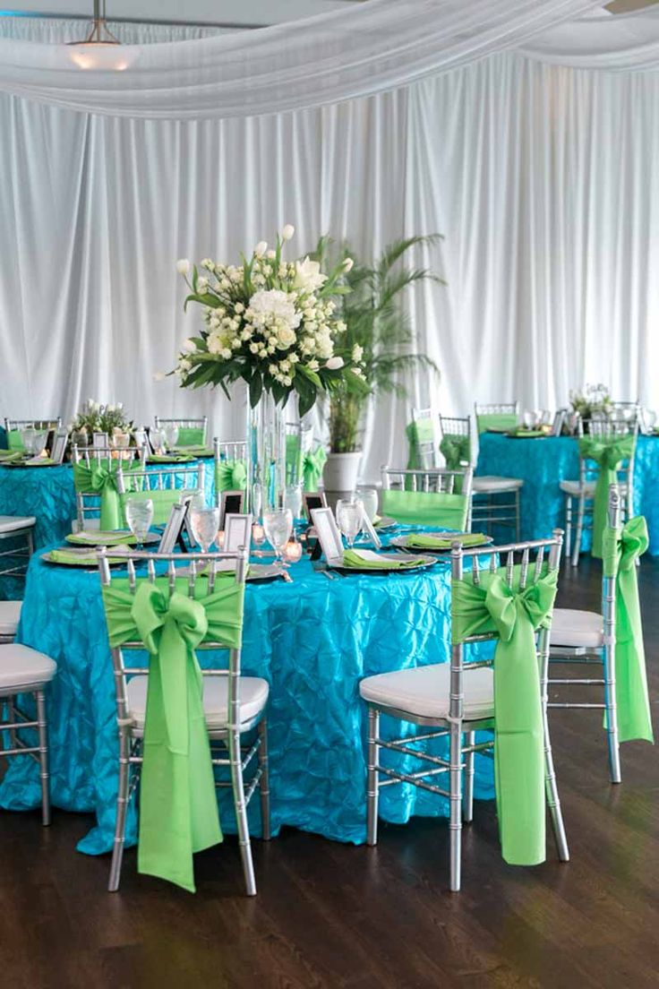 White Wedding Centerpieces By Flora Tampa   Blue And Green Wedding  Reception   Beach Wedding At