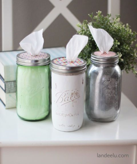 These are glassier and classier than the default cardboard tissue boxes. Get the tutorial at Landeelu. Get more Mason jar ideas at Country Living.  - GoodHousekeeping.com