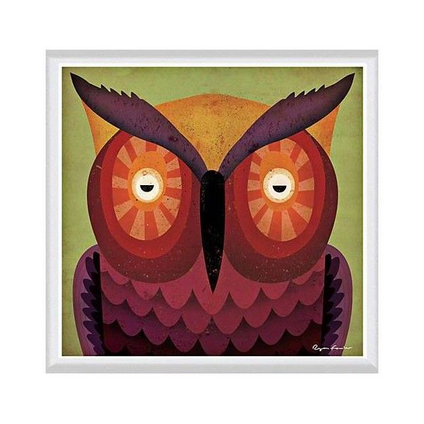 """Owl WOW 24"""" Square White Framed Canvas Art (225 BAM) ❤ liked on Polyvore featuring home, home decor, wall art, canvas wall art, canvas home decor, owl canvas wall art, framed wall art and white owl home decor"""