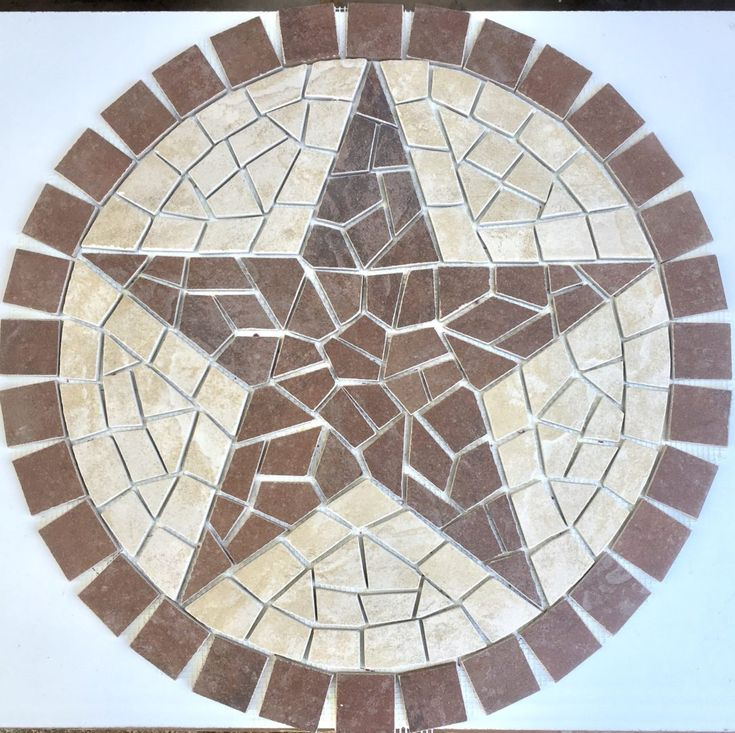 Colonial Slate Indian Red Texas Star Mosaic medallion