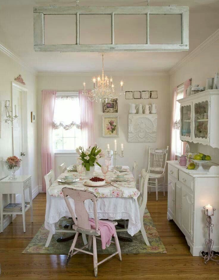 Kitchen Shabby Chic Ideas For White And Sleek Design Lover Pink Idea In Small Integrated With Dining Room