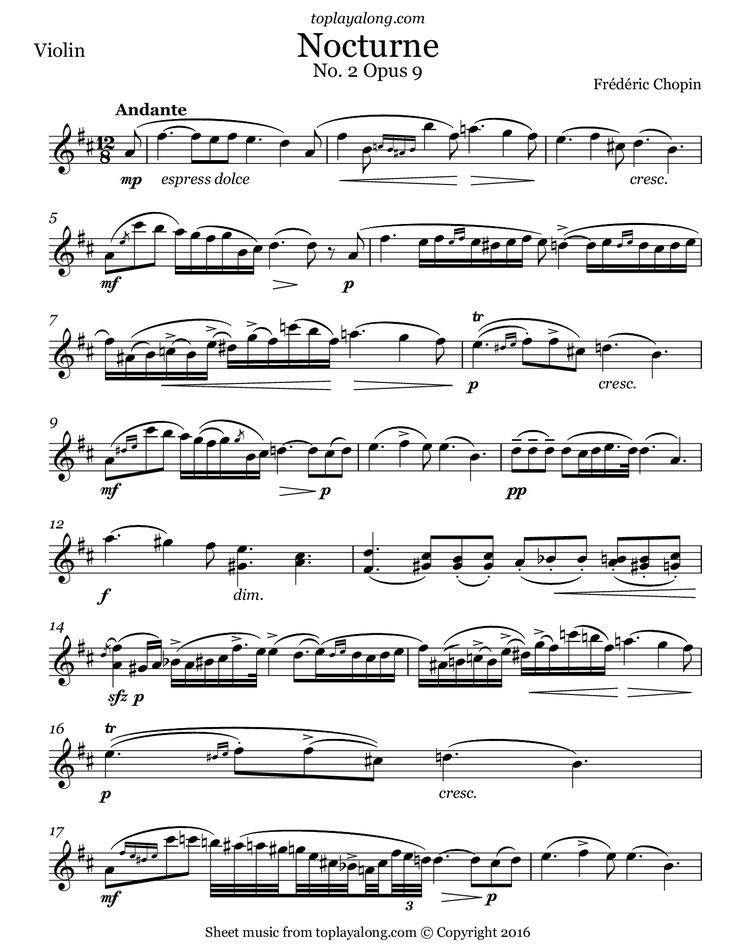 Nocturne No. 2 Op. 9 by Chopin. Free sheet music for violin. Visit toplayalong.com and get access to hundreds of scores for violin with backing tracks to playalong.
