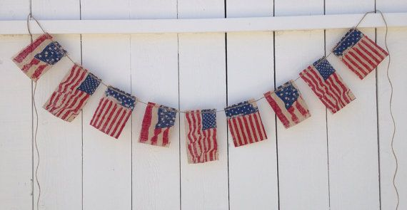 Patriotic American Flag Bunting, 4th of July Banner, 4th of July Garland, Americana Rustic on Etsy, Sold