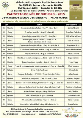 Calendário de Palestras do Mês de Outubro – 2015 – GPELA – Bangu – RJ - http://www.agendaespiritabrasil.com.br/2015/10/02/calendario-de-palestras-do-mes-de-outubro-2015-gpela-bangu-rj/