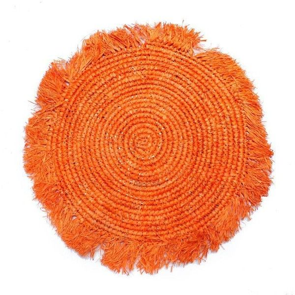 Balinese Tangerine Raffia Round Placemat ($40) ❤ liked on Polyvore featuring home, kitchen & dining, table linens, linens & bedding, orange place mats, colored placemats, orange table linens, orange table mats and raffia placemats