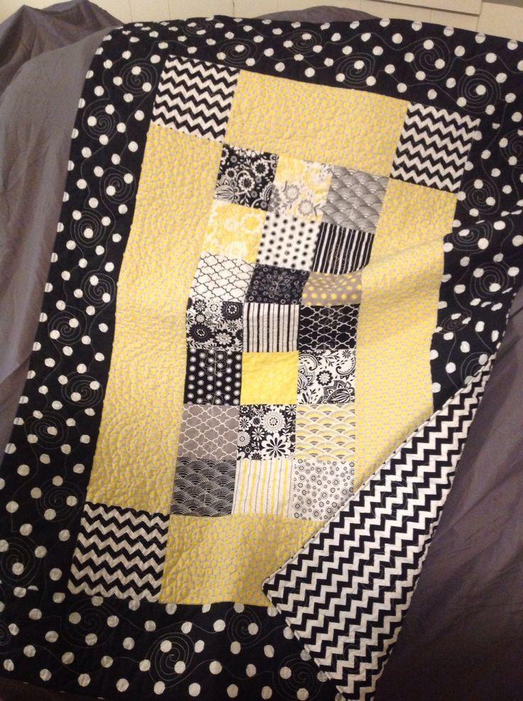 Modern Baby Quilt baby girl quilt yellow grey black white