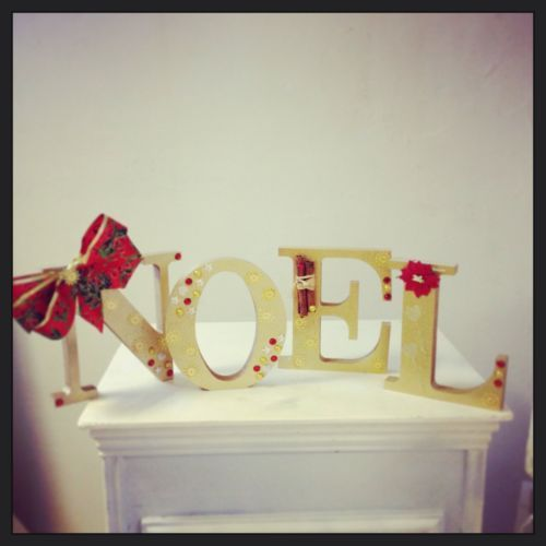 Christmas Decoration Letters Noel Hand Decorated