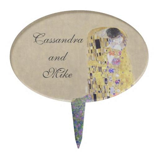 The Kiss Klimt Wedding Golden Anniversary Sand Cake Pick For Rehearsal Dinner or Wedding Cake Available at http://www.zazzle.com/the_kiss_klimt_wedding_golden_anniversary_sand_cake_topper-256128932054206307?rf=238505586582342524