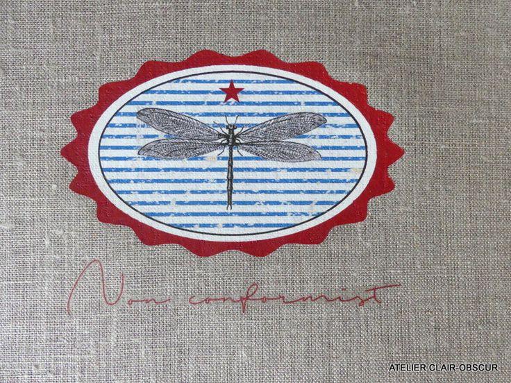 coupon de tissu à coudre graphisme libellule : Déco, Customisation Textile par atelier-clair-obscur