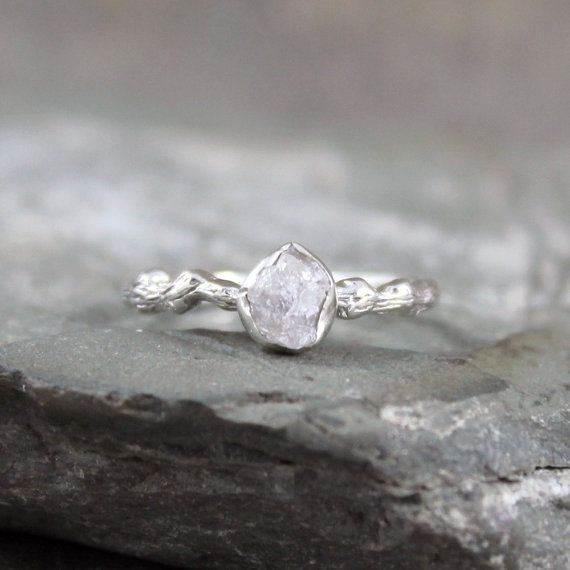 Raw Diamond Twig Ring  Branch Ring  Engagement by ASecondTime, $295.00