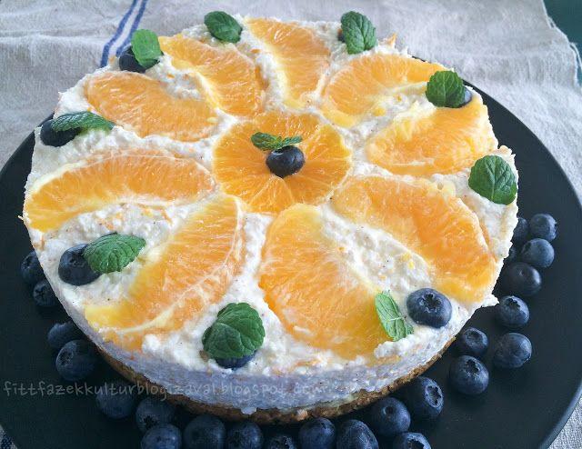 Fitt fazék kultúrblog : Mandarinos/narancsos túrótorta, zabpehely alappal, cukormentes túróval.