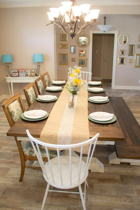 Trestle Farmhouse Dining Table With Matching Bench Dining Table