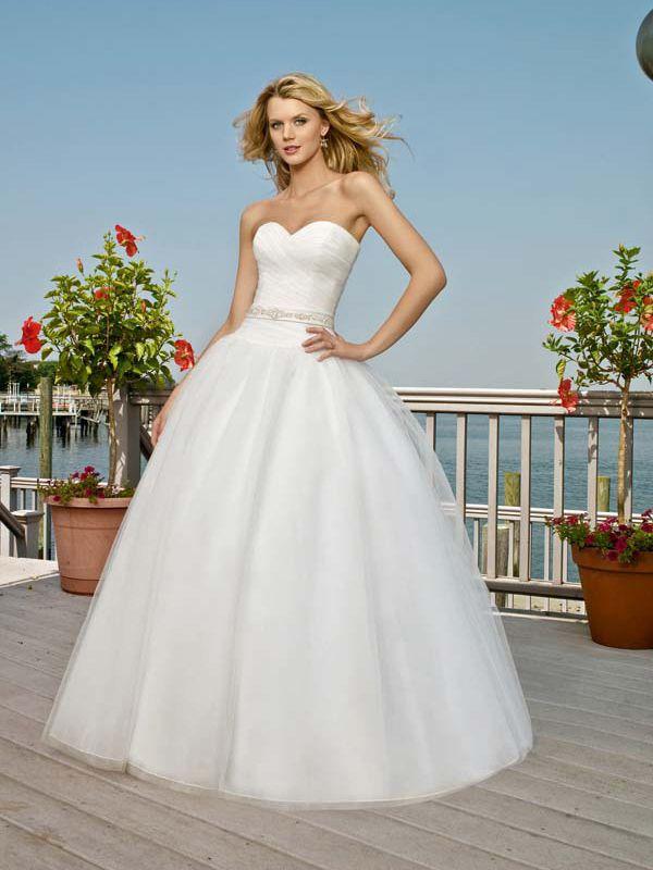 Ball Gown Sweetheart Organza Satin Sweep Train Sashes / Ribbons Wedding Dresses at Msdressy