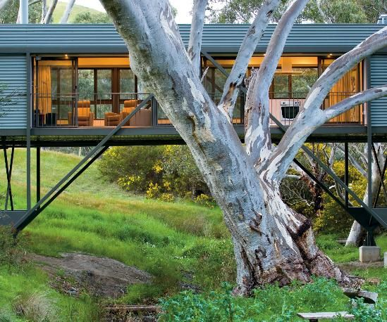 This narrow house in southern Australia spans a creek with only four small concrete piers, for minimal disruption. Framed with locally grown plantation pine and clad in recyclable sheet steel, the 1,184-square-foot passive solar home has operable windows and ceiling fans that eliminate the need for air conditioning. Solar panels provide hot water and electricity, and wastewater is treated and fed back into the ground.