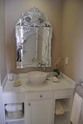 venetian mirror in bathroom make the wall a jewel tone and we have a win