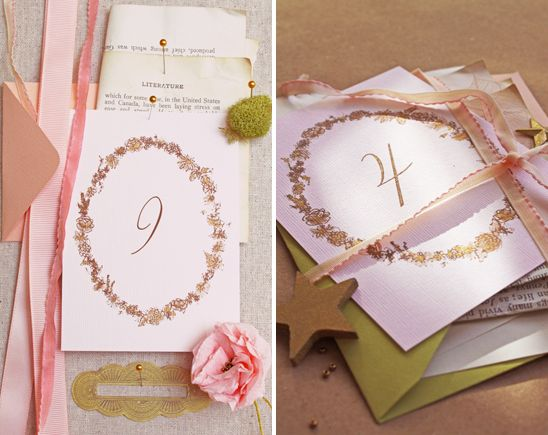DIY: Romantic Table Numbers - Project Wedding - http://www.projectwedding.com/ideas/26312/diy-romantic-table-numbers