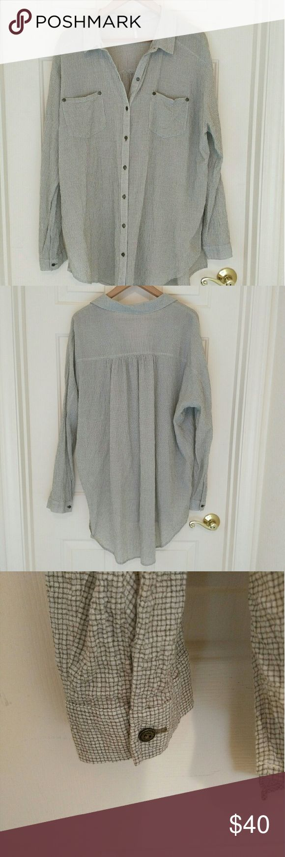 """Free People Oversized Shirt Dress Free People Shirt Dress   Beige with small brown window pane print and  Textured fabric  Excellent used condition.  No rips stains or smells.  99% Cotton 1% Spandex  Approximate Measurements Measured laying flat  Bust 28"""" Length 37"""" Free People Dresses"""