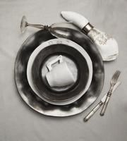 Arte Italica The Peltro Antico dinnerware group boasts a sophisticated pewter finish and delicate medallions.  Featured in the July 2013 issue of Home Accents Today