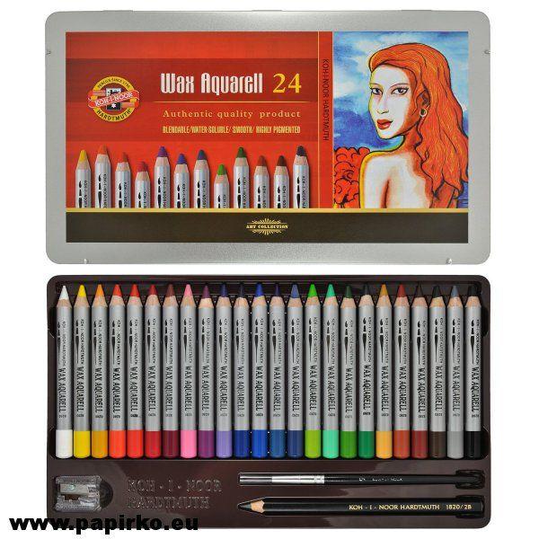 Akvarelové umělecké pastelky Wax Koh-i-noor 8284/24 barev