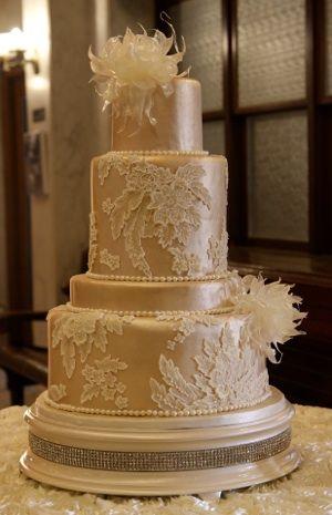 Lace Fondant Cake Atop Ivory Pearl Diamond Stand By Susan Larson