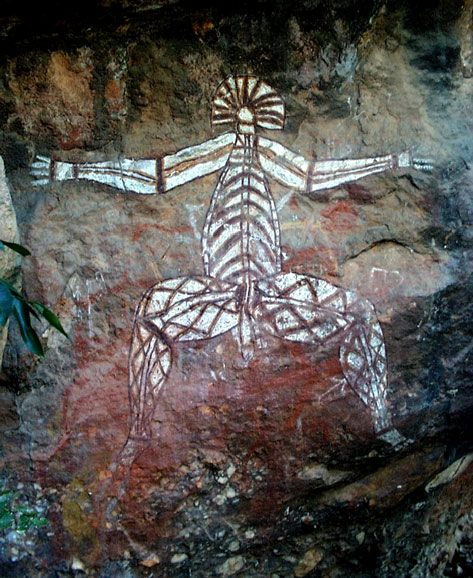 This rock painting is from Kakadu in Australia dates back to around 50,000 years.