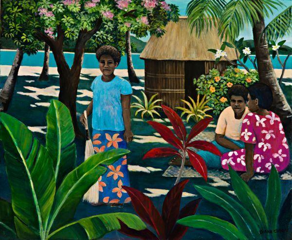 Figures in Fijian garden