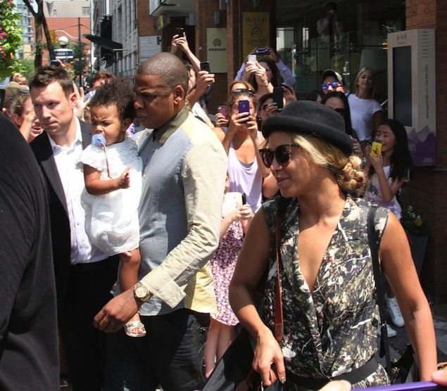 Jay-Z Goes for Lunch with Beyonce and Blue Ivy wearing Air Yeezy 2 Solar Red Sneakers in Toronto   UpscaleHype