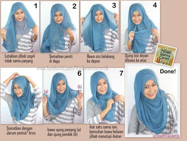 tutorial hijab with jilbab segi 4