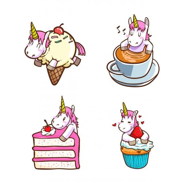 يونيكورن لطيف مع الأطعمة قصاصات فنية يونيكورن فتاة سعيدة Png والمتجهات للتحميل مجانا Cute Unicorn Unicorn Illustration Baby Unicorn