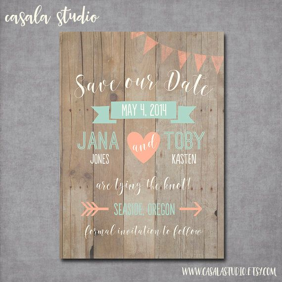 Whimsical Rustic Wood Mint and Peach Save the Date Wedding Announcement Invite Printable OR Printed Card 5x7
