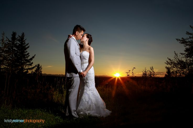 Wedding photo at sunset