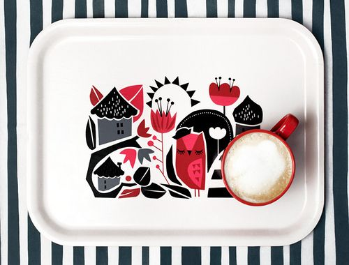 Modern Scandinavian folk art trayScandinavian Design, Inspiration, Darling Clementine, Graphics Design, Woodland Trays, Woodland Prints, Products, Owls House, House Trays