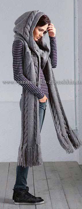 Вязаный шарф-капюшон спицами