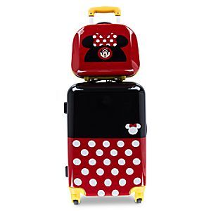 Whichever way things stack up, your little one is sure to have a fun trip when they travel with this two-piece Minnie Mouse luggage set. The coordinating rolling luggage and travel case are inspired by Minnie's signature polka dots and ear hat.