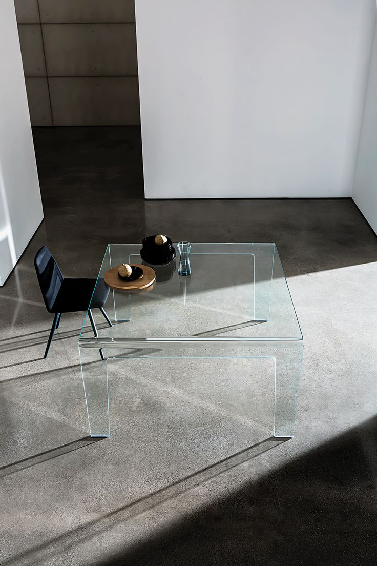 Frog #table collection & Sila chair. The beautiful lightness and the #design are enhanced by the #glass #interior #furniture