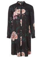 Womens Black Floral Side Split Shirt- Black