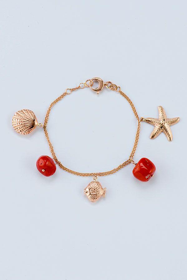 L'estate indosso deliziosi Charms marini in oro rosa e