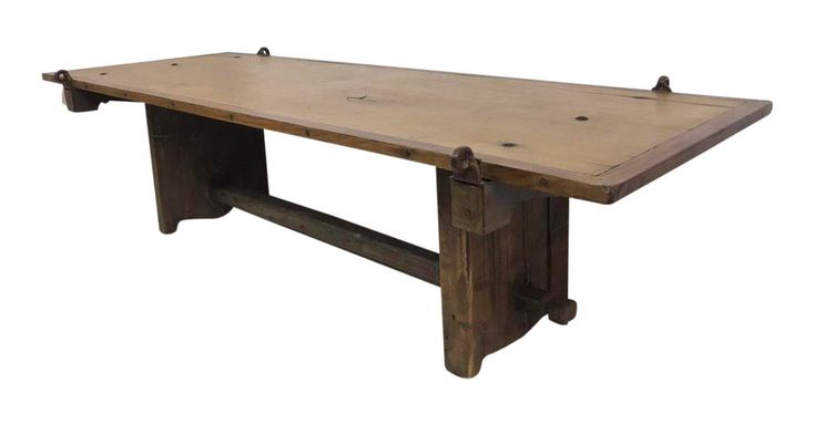 Reclaimed Barn Door Coffee Table Hand Hammered Hinges French Country