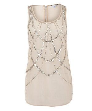 Shell Pink Sequin Web Longline Vest/$25