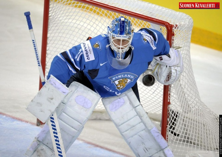 Finland's goalkeeper Petri Vehanen concentrates during the Group H game France vs Finland in the 2012 IIHF Ice Hockey World Championships in Helsinki, Finland, on May 10th