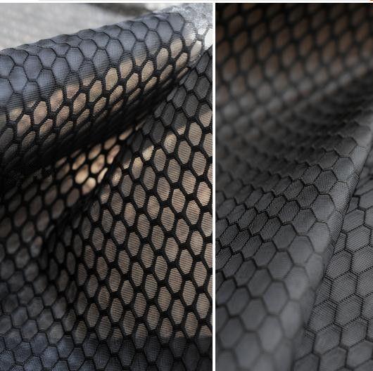 100 см * 150 см Сэндвич моды ткани высокая прочность слой воздуха, ткань большой гексагональной сотовой черный дизайнер одежды ткани