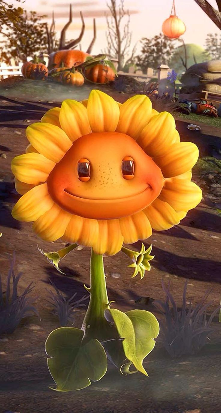 Plants vs Zombies games sunflower iPhone wallpaper