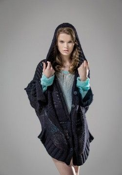 Black Angel Cashmere and Silk Button up Cape. Luxury Limited Edition Knitwear. www.elkaknitwear.co.nz